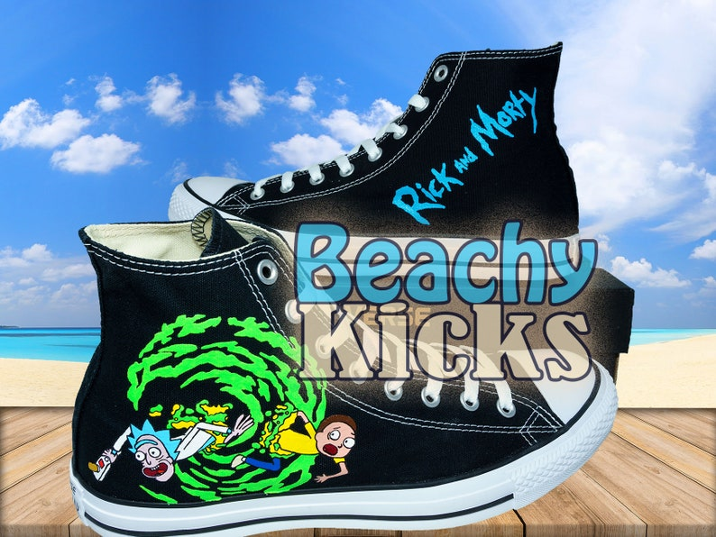f6ce472d2ffe Rick and Morty Custom converse Hand Painted shoes Birthday
