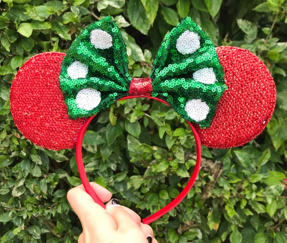 Christmas Minnie Mouse Disneyland.Disneyland Disney World Christmas Minnie Mouse Mickey Mouse Ears Accessories Headbands Red Minnie Ears Polka Dot Holiday Mickey Ears
