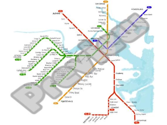 Boston T Map Etsy