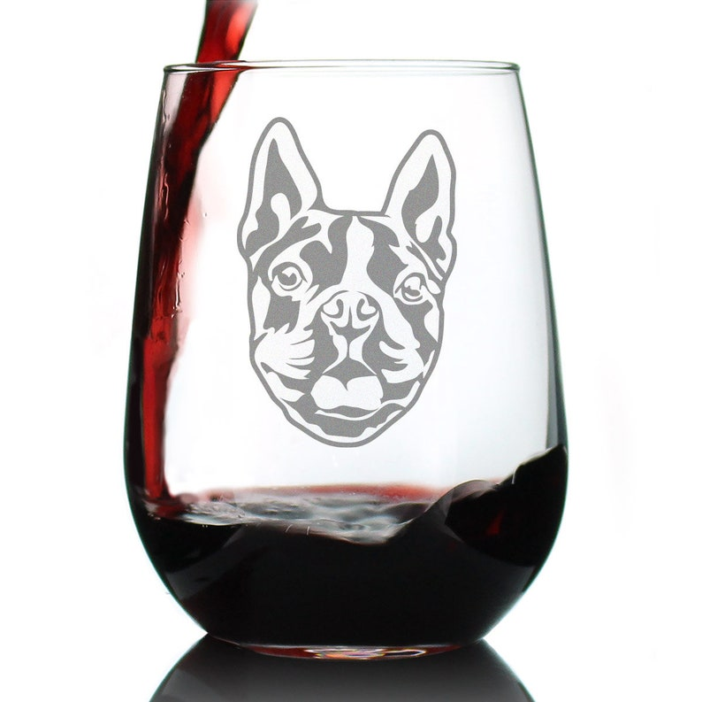 Large Glasses Cute Gifts for Dog Lovers with Terriers Stemless Wine Glass Boston Terrier Face