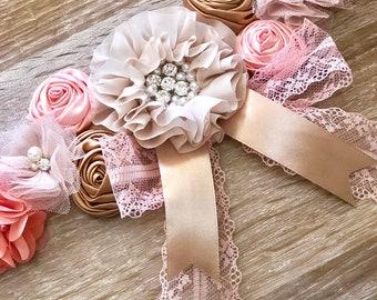 Beige Peach Girl Maternity Sash,Girl Pregnancy Sash, Gender Reveal Party,Baby Bump Girl Sash, Maternity Flower Belt
