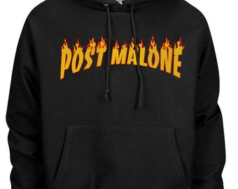 Post Malone Hoodie - Flame Print - Black with Color Print d4fcc204c8b6