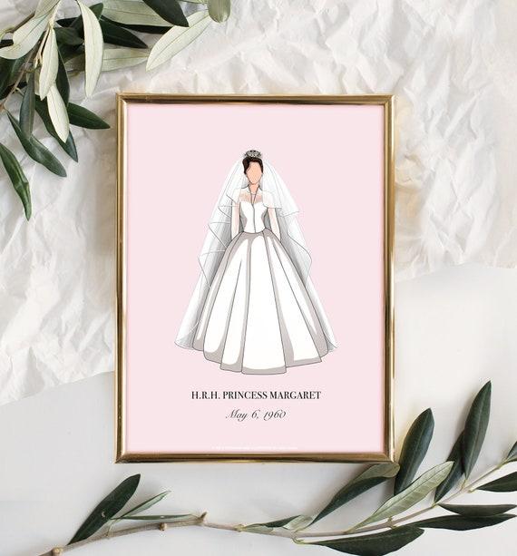 Princess Margaret Minimal Wedding Dress Wall Art Print In Etsy