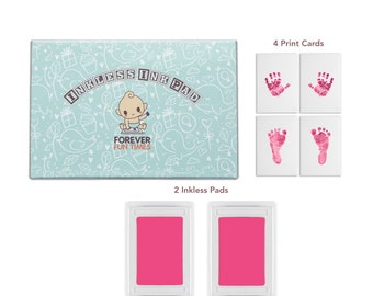 2 Pack Paw Print Ink Kits Non Toxic and Safe Print Kits for Babies and Pets for Baby Shower Gift URBEAR Baby Handprint and Footprint Ink Pads