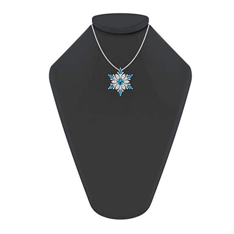 c583bf2afdee48 Sterling Silver Snowflake Necklace with Swiss Blue Topaz and   Etsy