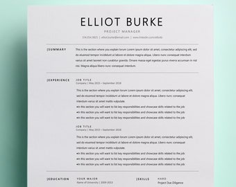 Minimalist Resume Etsy