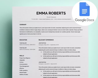 google docs resume etsy