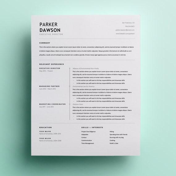 Creative Resume Template | CV Design | Curriculum Vitae | CV Template |  Minimalist Resume | Modern Resume | CV Resume Template