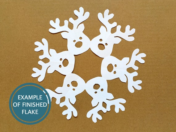 reindeer paper snowflake template  Rudolph the Reindeer snowflake pattern -- Christmas DIY paper craft