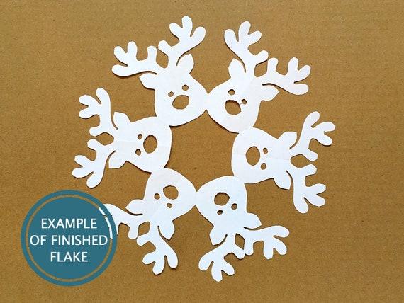 reindeer snowflake template  Rudolph the Reindeer snowflake pattern -- Christmas DIY paper craft