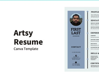 Artsy Resume Template for Canva   Professional CV   Instant Download Resume Template