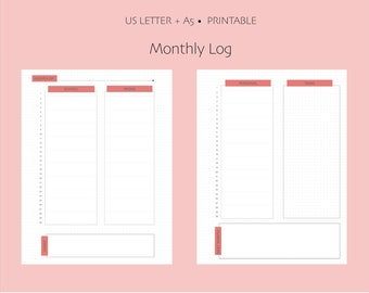 Undated Monthly Log Bullet Journal Printable - US Letter and A5