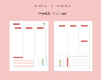 Undated Weekly Bullet Journal Printable - US Letter and A5
