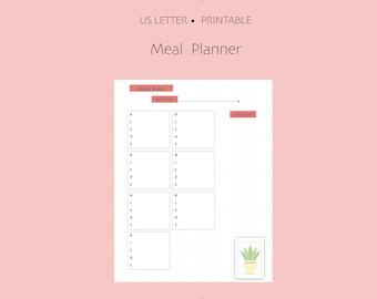 """Meal Planner Bullet Journal Printable ~ Full Letter / 8.5"""" x 11"""" PDF"""