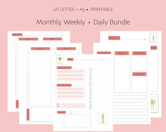 Undated Monthly, Weekly + Daily Log Bullet Journal Printable - US Letter and A5