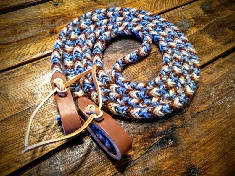 READY TO SHIP Natural Browns 9/' Braided Mohair Rein with Choice of Leather Light Blue