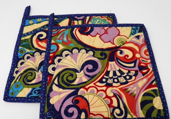 Set of 2 Modern Quilted Pot Holders