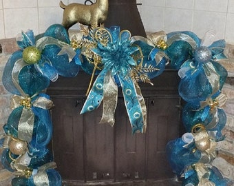 christmas mantle garland aqua christmas wreath aqua christmas door decorations for christmas mantle