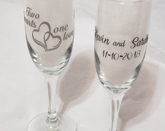 86388f6fe10d Personalized bride groom toasting glass toasting glass with hearts bride  glass bridal shower gift wedding glasses gift for bride to be