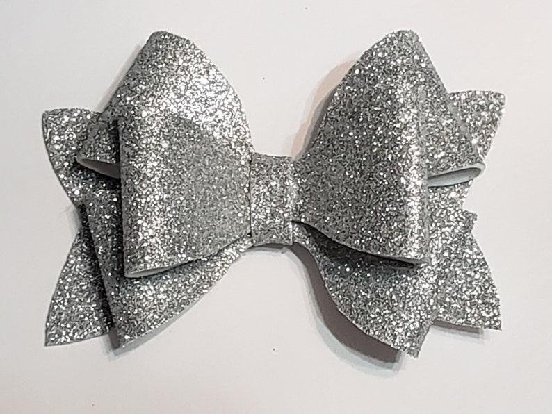 Girls glitter hair bow BFF Christmas hair bow Silver glitter hair bow glitter bow girls bows hair clip baby bows baby headbands glitter bows