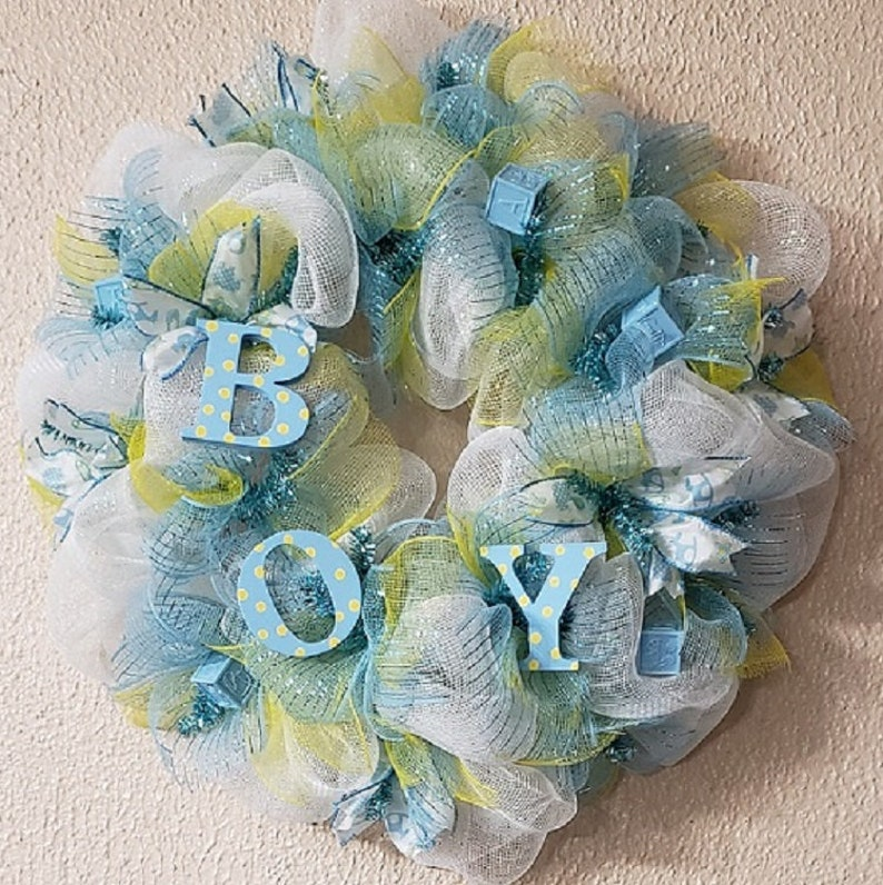 Baby Boy Wreath Baby Boy Shower Wreath Baby Wreath For Front Etsy