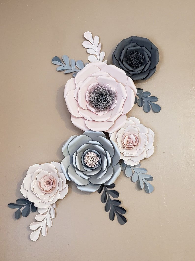 Nursery Paper Flowers Wall Decoration Paper Flower Decor Blush Nursery Decor Elegant Paper Flowers Large Paper Flowers For Wall