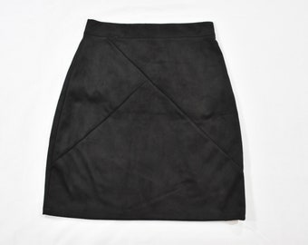 Upcycled Banana Republic short skirt size Medium with stripes and 13-point Bolt.