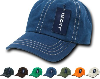 f025068b Lot of 6 Bulk Contrast Stitch Polo Dad Hats - Decky 111