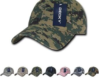 dac76e50 Lot of 6 Bulk Blank Camo Baseball Relaxed Dad Hats - Decky 216