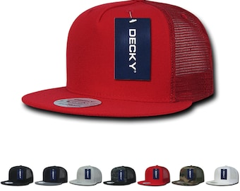 a1c7bb746f2ead Lot of 6 Bulk Blank 5 Panel Trucker Flat Bill Snapback Hats - Decky 1063
