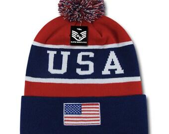 4671bb93eab5a2 1 Dozen Wholesale USA American Flag Knit Beanies - R93