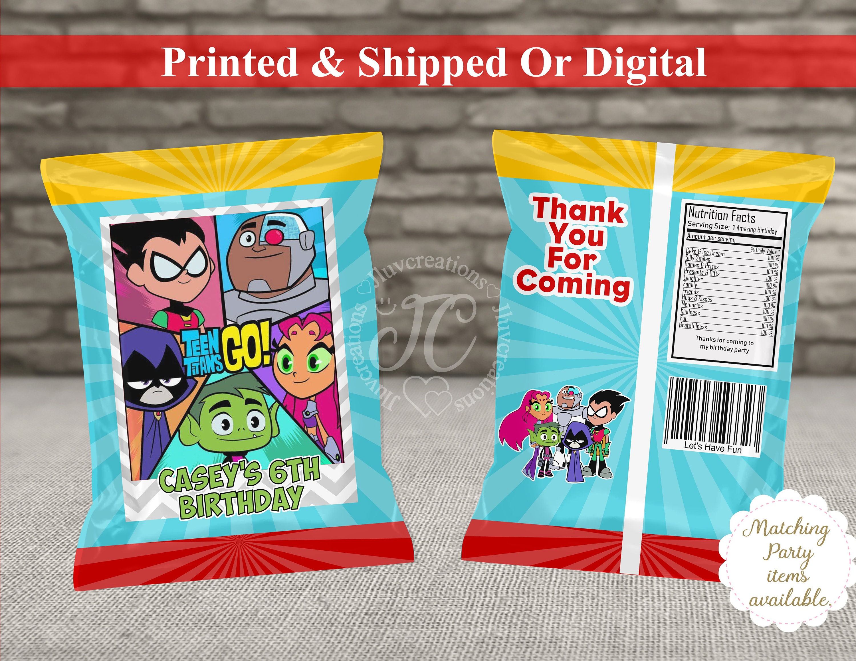 6 Personalised Teen Titans GO Birthday Party Fold Over Cards Sweet Bags Favours