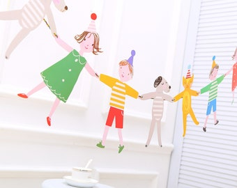 Birthday Party Bunting, Paper Garland, Kids Party Decorations, Hanging Decoration