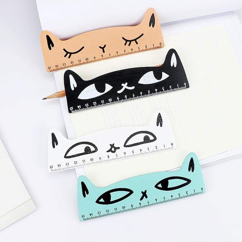 Cat Wooden Ruler Cute Ruler School Supplies Kawaii image 0
