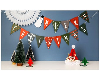 Merry Christmas Bunting, Paper Garland, Christmas Decorations, Festive Decoration