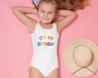 It's My Birthday Girls One Piece Swimsuit, Colorful Rainbow Toddler Kids Girl White Bathing Suit Kids Baby Pool Beach Party Swim Suit Swimwe