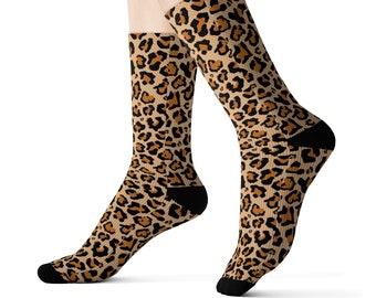 Adult Leopard Cheetah Print Camouflage Green Socks Cool Crew Tube Cotton Socks