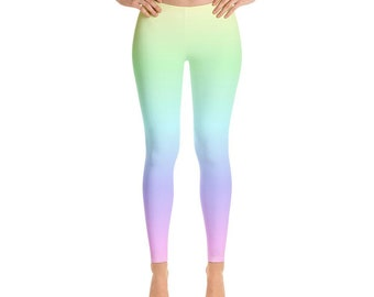 17ab6c5ce3d1e Pastel Rainbow Leggings, Tie Dye Leggings, Pastel Yoga Pants, Neon Leggings,  Printed Leggings, Colorful Leggings for Women, workout leggings