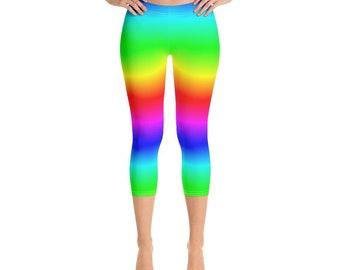 7616584d51581 Neon Rainbow Leggings, Tie Dye Leggings, Yoga Pants Cropped, Printed Pride,  Colorful Capri Leggings for Women Workout Leggings, Festival EDM