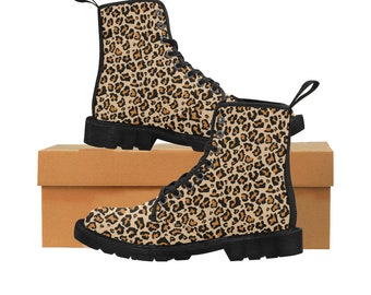 Winter Faux Fur Leopard Animal Print Hippie Boots Vegan Leather Custom Leather Boots Handmade Crafted Leather Boots Women