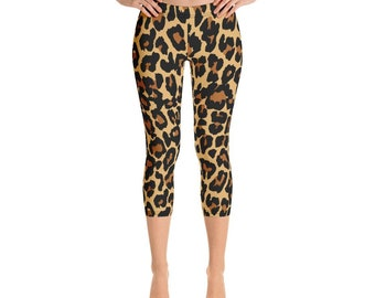 a87499b2cf8a6d Leopard Print, Printed Yoga Leggings, Sexy Leopard Leggings, Animal Print  Capri Leggings Pants