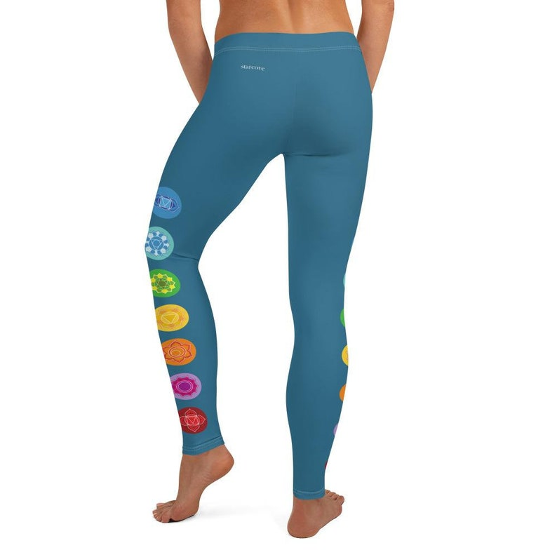 Blue Symbols Chakras Yoga Pants Boho Hippie Printed Yoga Pants Cute Print Graphic Workout Running Gym Fun Gift for Her CHAKRA Leggings