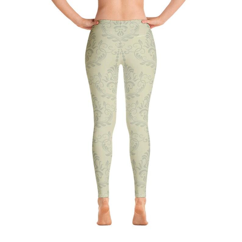 Light Green Beige Pattern Printed Pants Khaki Leggings Unique Printed Yoga Boho Leggings for Women