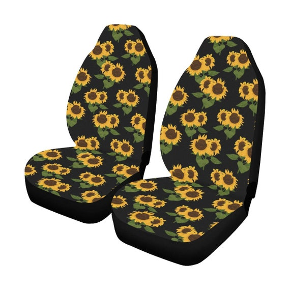 Surprising Sunflower Car Seat Covers 2 Pc Black Yellow Front Seat Covers Floral Car Suv Seat Protector Accessory Lamtechconsult Wood Chair Design Ideas Lamtechconsultcom