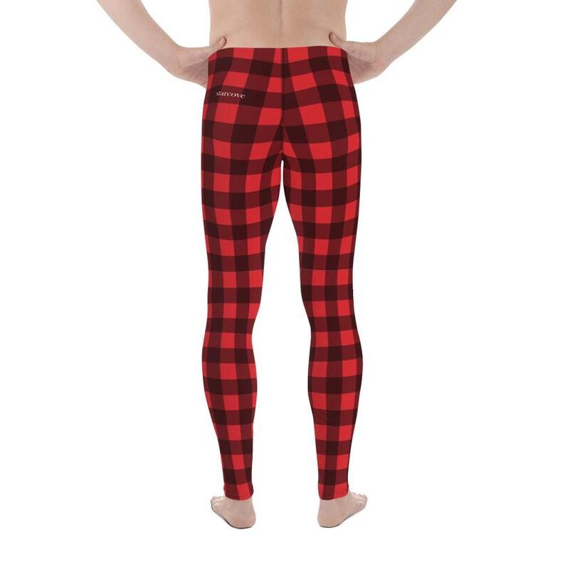 Red black Check Lumberjack Printed Yoga Sports Pants Tights Buffalo Plaid Men/'s Leggings