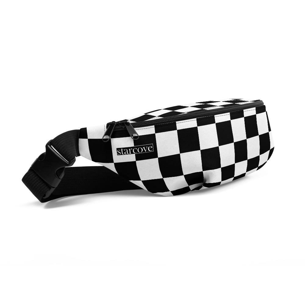 Checkered Print Cowhide Bum Bag Fanny Pack