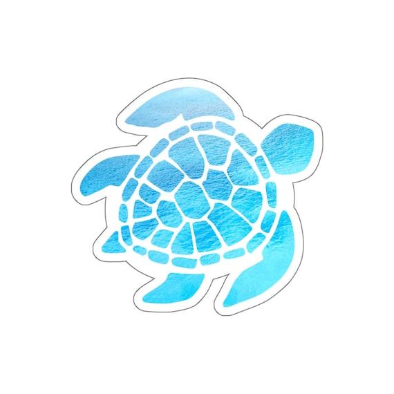 Ocean Sea Turtle Vsco Sticker Beach Wave Watercolor Blue Laptop Vinyl Cute Waterproof Car Bumper Waterbottle Label Wall Decal Stickers