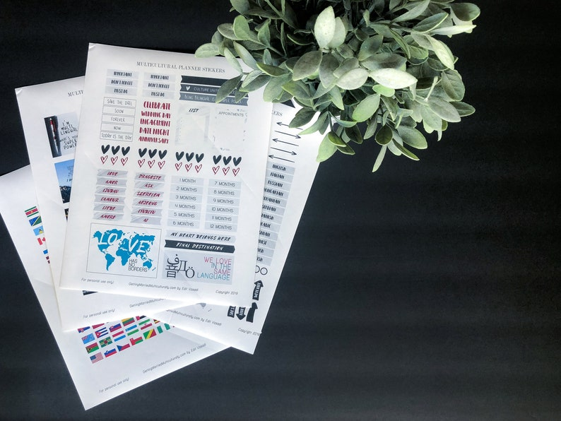 Printable Planner Stickers for Intercultural Couples image 0