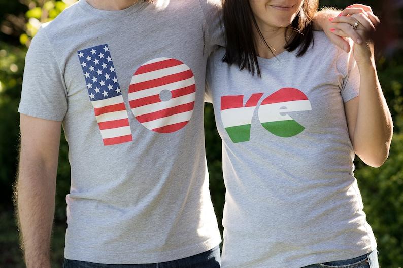 American Hungarian Flag Matching LOVE Couples shirts image 0