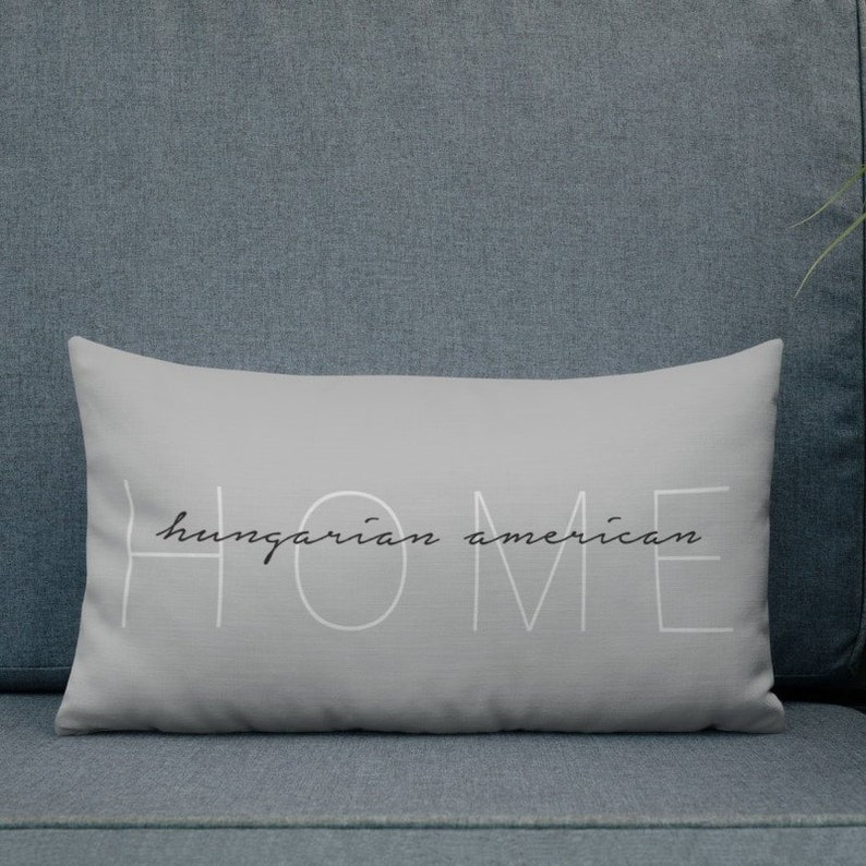 Hungarian American Home Pillow 20x12 Decorative Welcome image 0